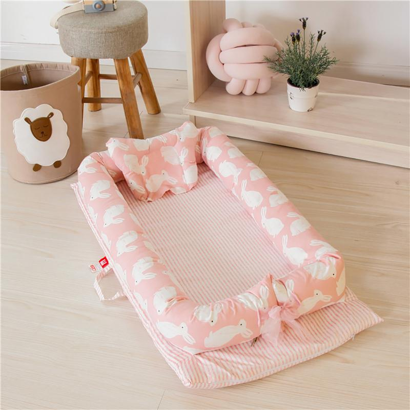 Baby Portable Cribs Bassinet For Bed With Soft Pillow Removable Breathable Hypoallergenic Baby Lounger Baby Bionic Bed