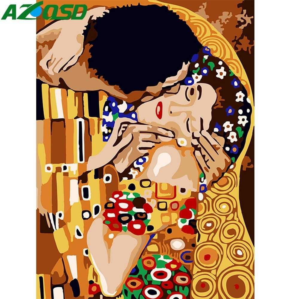 AZQSD Oil Painting Lovers Painting By Numbers Kiss Paint Canvas Picture DIY Hand Painted Modern Home Decoration