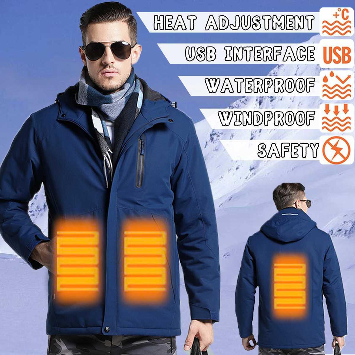 Smart Обновлен для мужчин Открытый USB инфракрасного нагрева куртка зима полиэстер волокно Электрический термальность одежда куртк