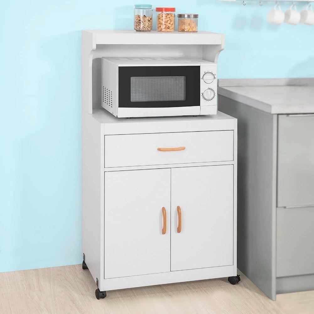 sobuy fsb12 w kitchen storage trolley microwave shelf storage cabinet cupboard sideboard on wheels