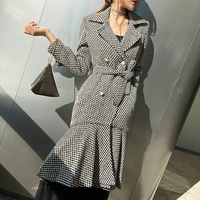 LANMREM 2018 Double breasted Gray Plaid Fishtail Dress Type Coat New Fashion Autumn Winter Slim Type Clothing For Women YF04002
