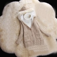 Lady Winter Fur Hooded Knitted Sweater Coat Women Thick Warm Sweater Long Sleeve Cashmere Cardigan Sweater