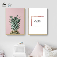 CREATE&RECREATE Nordic Poster Pineapple Posters And Prints Letters Wall Art Canvas Paintings Decorative Pictures CR1810115042