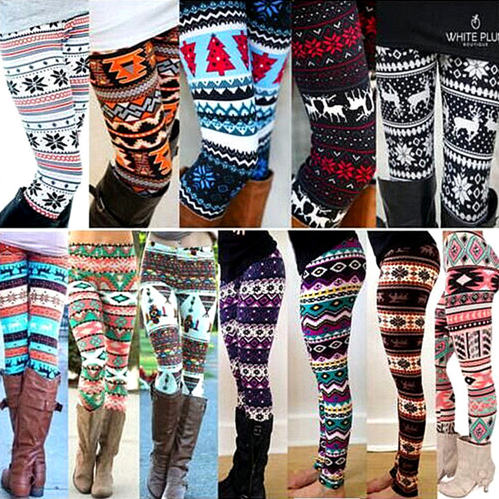 Fashion Women's HOT   Leggings   Pants Print High Waist   Leggings   Happy Christmas Party Long Pants 18 Color Ladies Xmas Trousers
