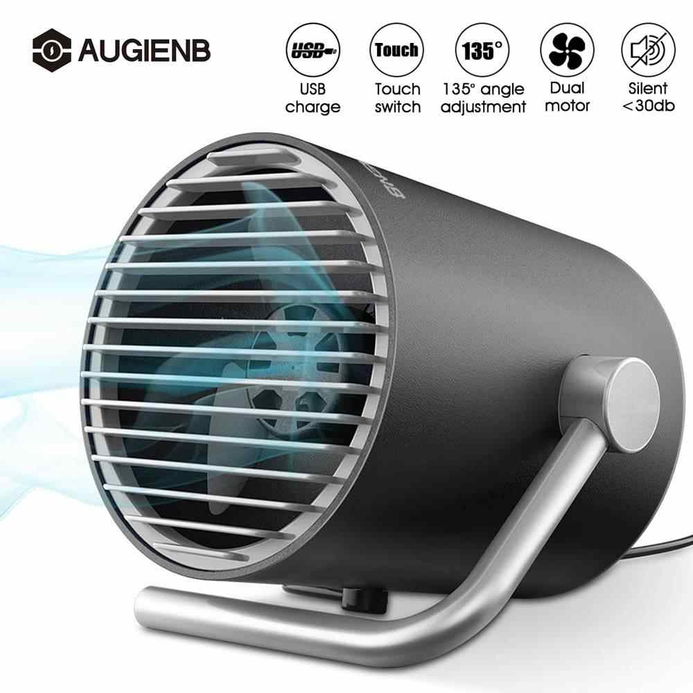 AUGIENB Portable USB Desk Fan Mini Rechargeable Cooling Fans Twin Turbo Blades Quiet 2 speed Mode for Home Office Outdoor