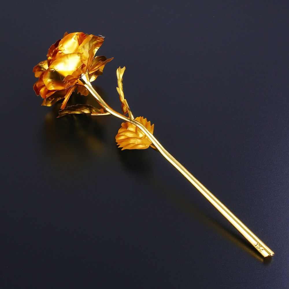 24K Gold Foil Rose Flower Artificial Valentine's Day Lover Gift Birthday Romantic Golden Rose Home Decor Festive Party Supplies