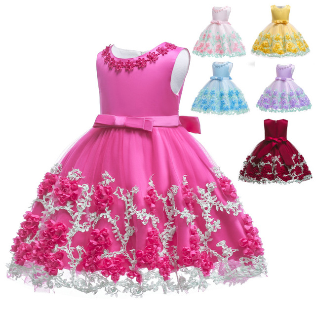 0 24M Baby Girls Infant Party Vestidos Flower Tutu Dresses For Summer Party Baby Girls Clothes Sleeveless Princess Wedding Dress