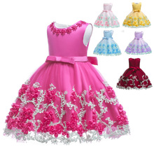 Vestidos de fiesta para niñas pequeñas de 0 a 24 meses, vestido de tutú de flores para fiesta de verano, ropa sin mangas Boda de Princesa