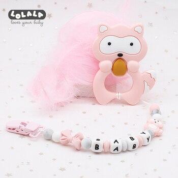 4191ba1a1463 Nombre personalizado perlas de silicona para la dentición chupete Clips  libre de BPA chupete Cadena de chupete titular pezones para bebé juguetes  Dummy Clip
