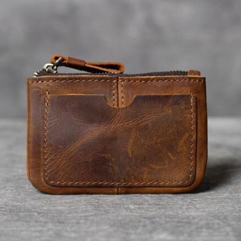 Vintage Crazy Horse Leather Men's Coin Purse Genuine Leather Zipper Mini Coin Wallet Retro Key Holder Small Money Bag