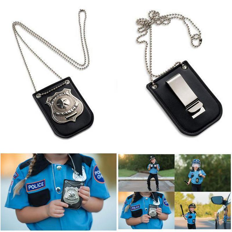 Kids Role Playing Props Police Special FBI Badge With Chain And Belt Clip Toys For Boys Girls Card Holder Police ID Cards Tools