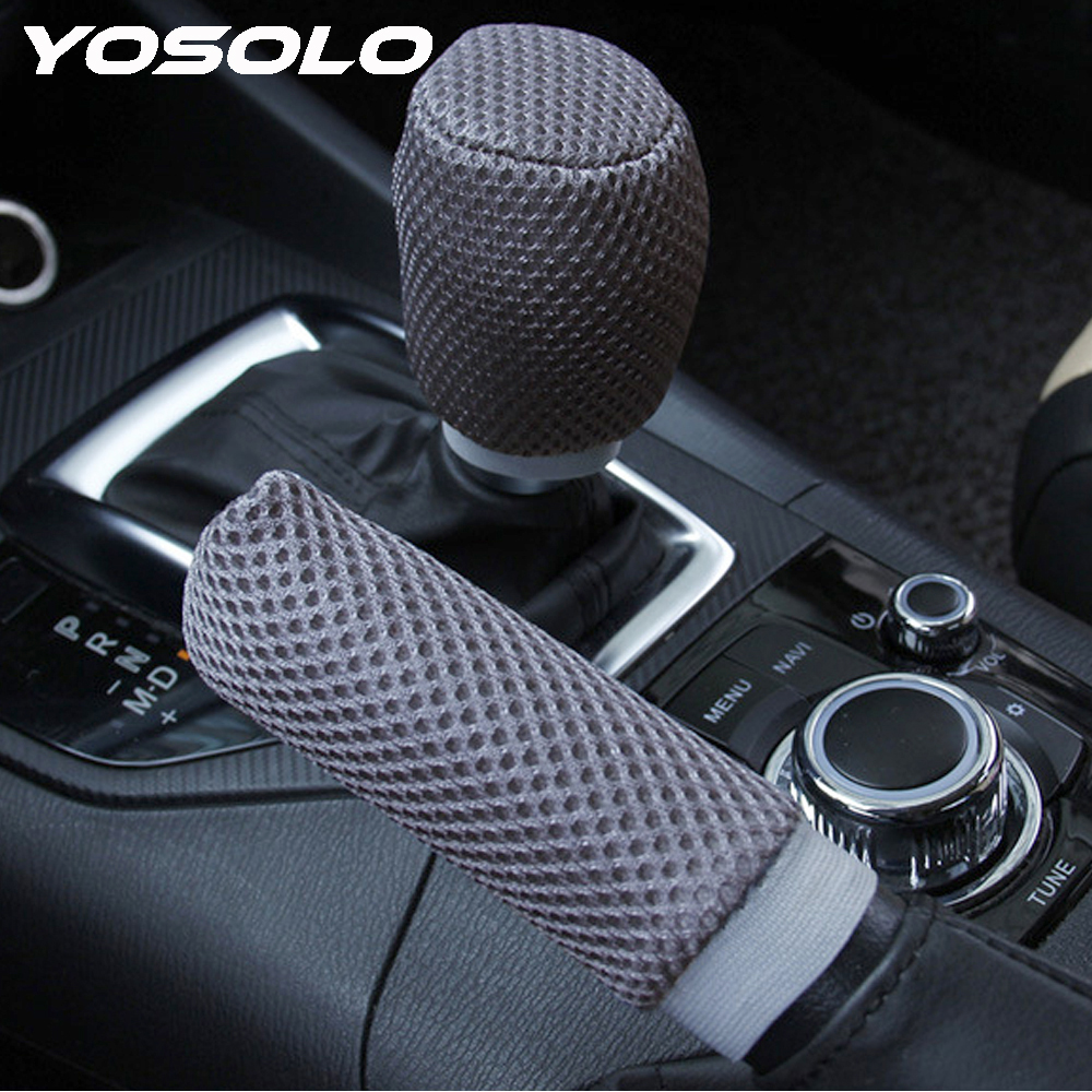 YOSOLO 2pcs/set Car Handbrake Grips Car-styling Hand Brake Cover Sleeve Universal Anti-slip Hand Brake Gear Shift Knob Cover