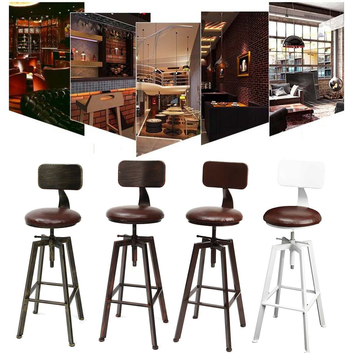 4 Colors Vintage Retro Craft PU Leather Bar Chair Stool 360 Degree Rotate Counter Lift High Chair Stool Home Bar Decoration New