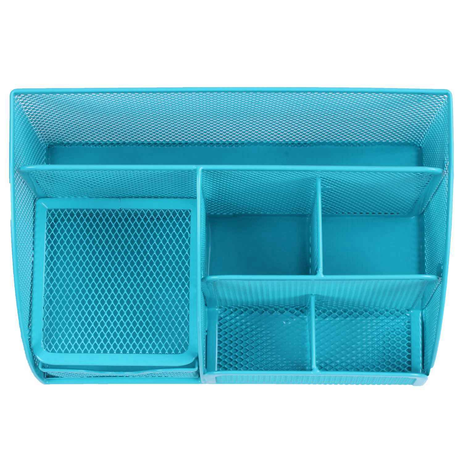 7 Cell Metal Desk Organizer Mesh Desktop Pencil Pen Sundries Badge Holder Storage Box Stationery Ruler School Office Supplies