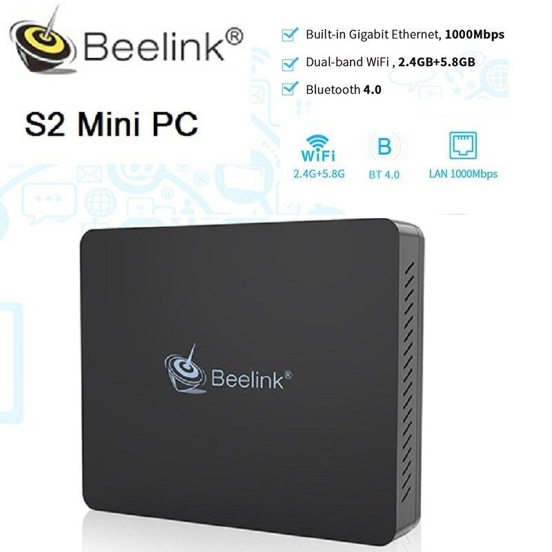 Beelink S2 Mini PC 4 ГБ DDR4 Оперативная память 128GM Встроенная память Intel Близнецы озеро N4100 с микрофоном Кортана Расширенный HDD SSD BT4.0