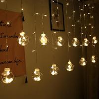 Plugue da ue 138led luz da corda de casamento sala estar guirlanda luz com clara bola lâmpada ao ar livre pendurado pátio pode ser escurecido luz da corda|Fios de iluminação| |  -