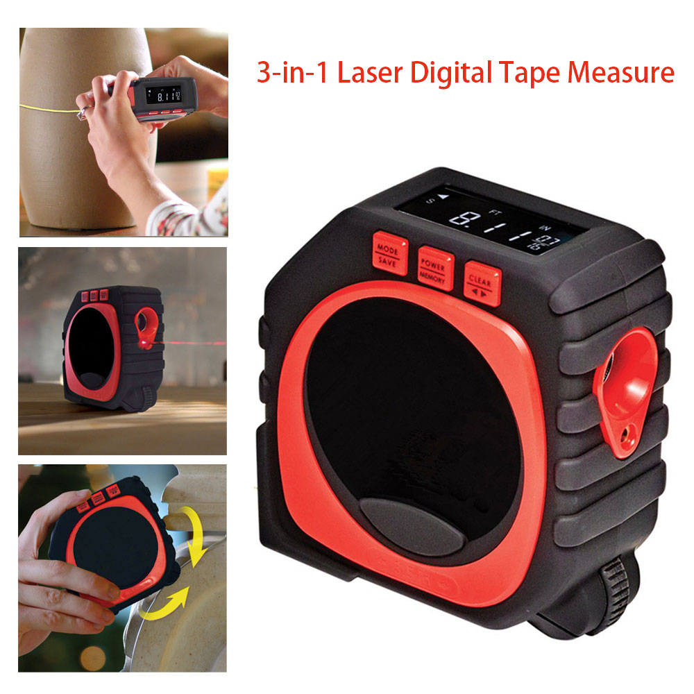 3-in-1 4m High Accuracy Laser Digital Tape Measure With Roll&cord Mode 1/100th High Impact Measuringtool With Led Display Good Heat Preservation Measurement & Analysis Instruments