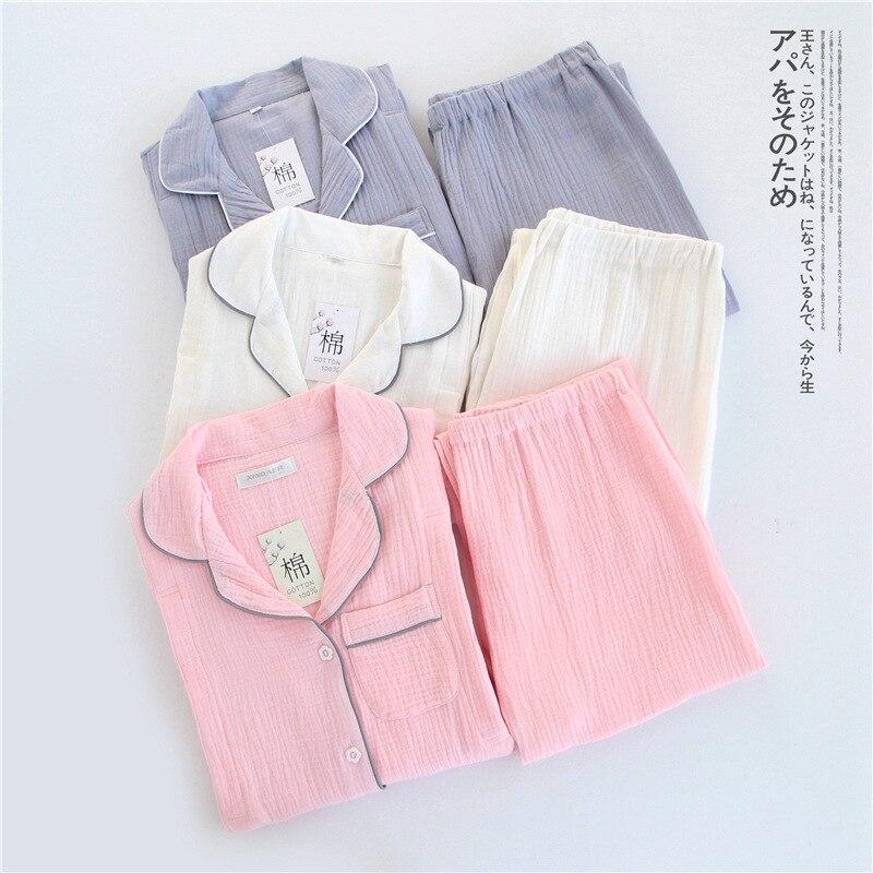 100% Cotton Crepe Long sleeved Breast Feeding Pajamas Solid Pijama Mujer Summer Plus Size Pijamas Loungewear Sleepwear Home Set-in Pajama Sets from Underwear & Sleepwears