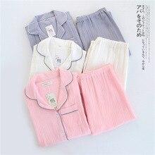 100% Katoen Crêpe Lange Mouwen Borstvoeding Pyjama Effen Pijama Mujer Zomer Plus Size Pijamas Loungewear Nachtkleding Thuis Set