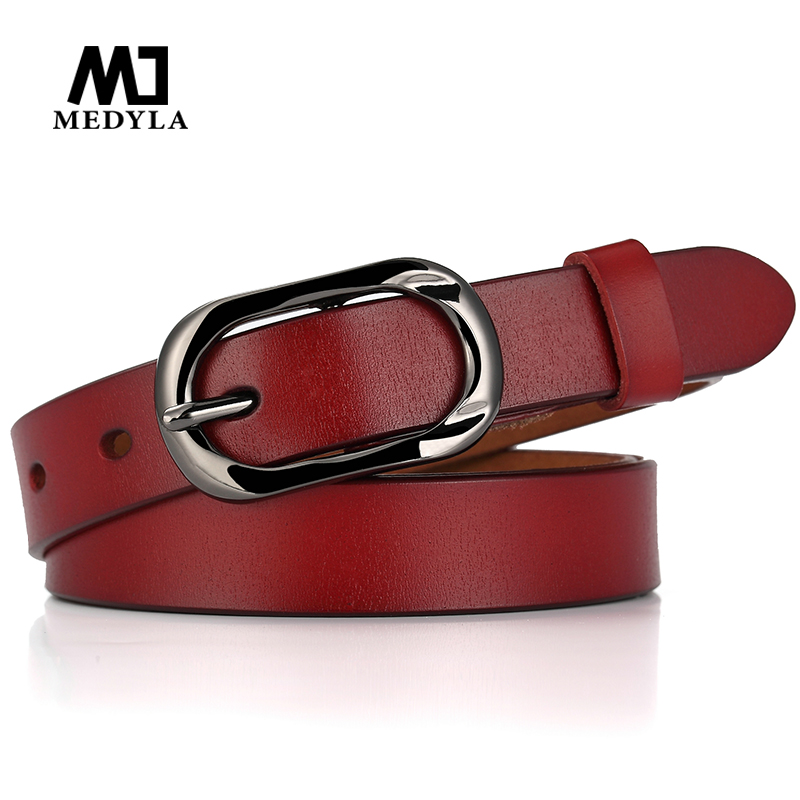 MEDYLA Casual Leather Female Belt Fashion Black Pin Buckle High Quality Natural Leather Belt For Women Jeans Decorative Belt