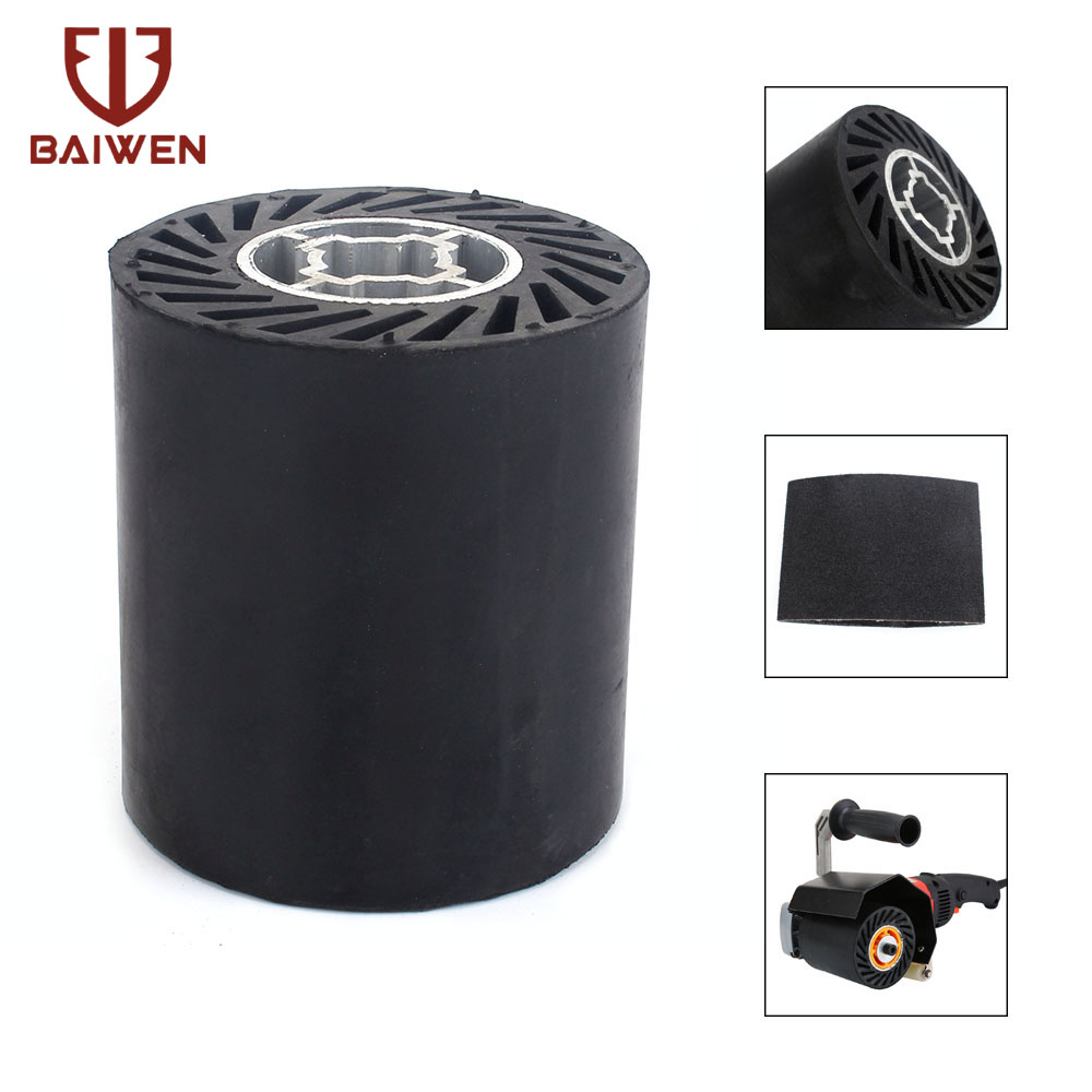 90mm Rubber Polishing Drum Drawing Wheel For Grinding Polisher Machine Working With Sanding Sleeves
