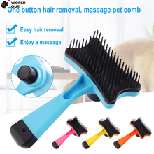 Head Automatic Dog Brush Plastic Shedding Pet Grooming Peine Comb For Dogs Cat Pettine Hair Remover 4 Colors