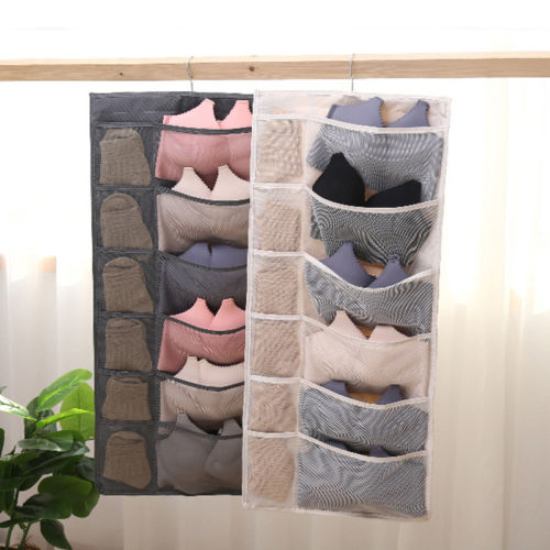 Hot Sell Well 12 Pockets Portable Hanging Underwear Bra Socks High Quality Double Sided Storage Organizer Over the Door Bag