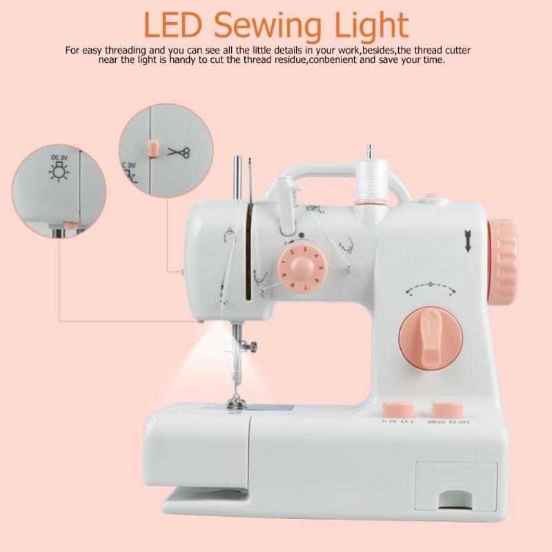 Mini Electric Sewing Machine 100-240V Built-in Light Household Mending Machine EU Plug DIY Craft Sewing Machine Handheld