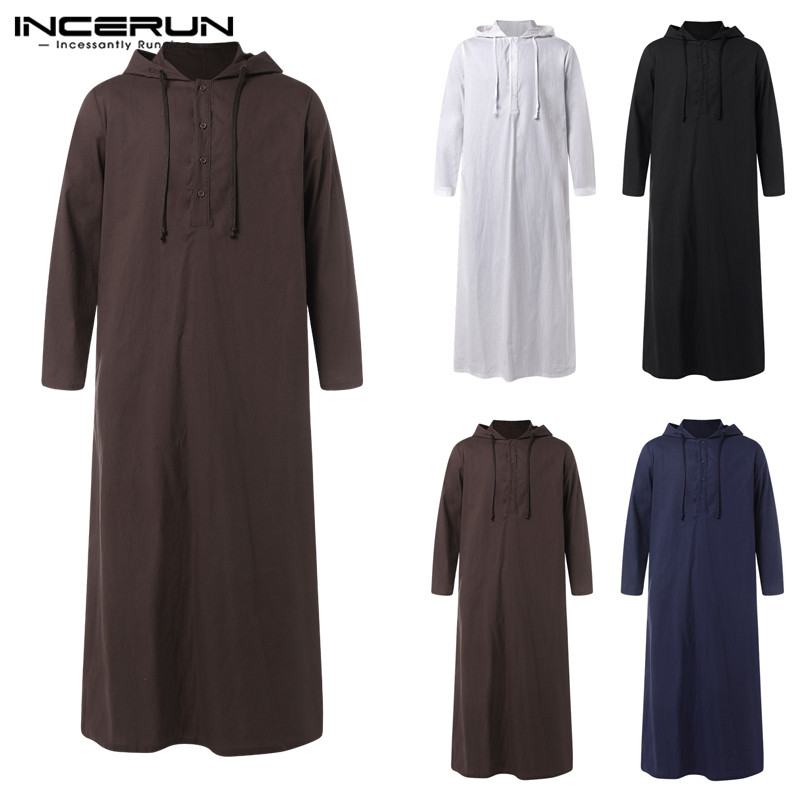 INCERUN 2019 Muslim Men Islamic Arab Kaftan Jubba Thobe Hooded Long Sleeve Saudi Arabia Thobe Robe Men Muslim Clothing Plus Size