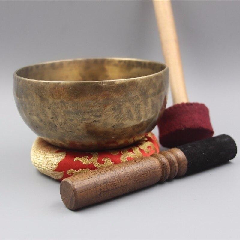 Cuencos grandes de cobre hechos a mano Budismo Tibetano con pegatina de cuero y cojín Budismo Nepal-in Boles y platos from Hogar y Mascotas    1