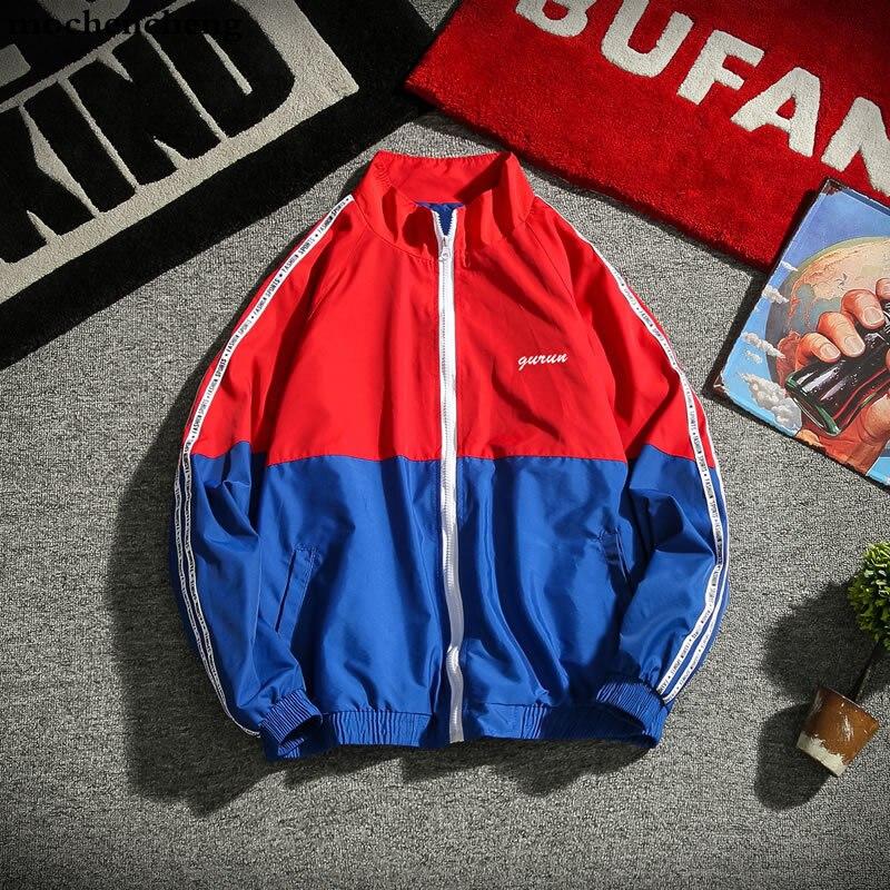 Vestes à glissière homme blouson aviateur homme Hip Hop Streetwear manches rayées Patchwork décontracté veste manteau oversize M-5xl