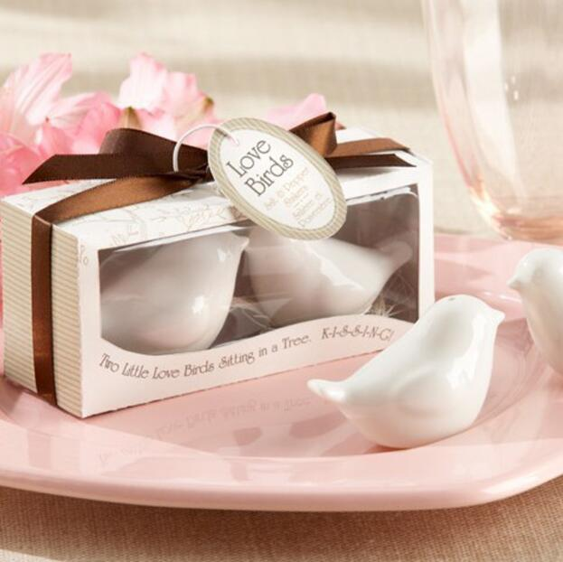 Free shipping 100pcs lot 50sets lot wedding favor window love birds salt and pepper shaker to
