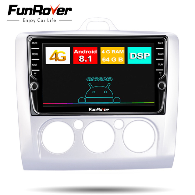 Funrover 8 cores Android 8.1 2 din Car Dvd multimedia gps navi For Ford Focus 2 radio navigation DSP stereo Split screen SIMslot
