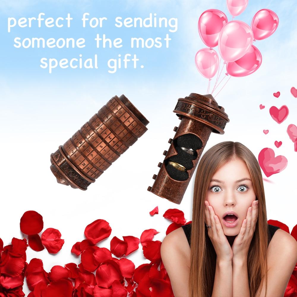 Retro Birthday Valentine Gift Box Cylinder Lockbox Da Vinci Code Alphabet Locks for Ring