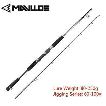 цена на Mavllos Raptor Lure Weight 80-250g Jigging Fishing Rod 1.8M 15-35Lb Superhard Saltwater Carbon Fishing Spinning Rod Jigging