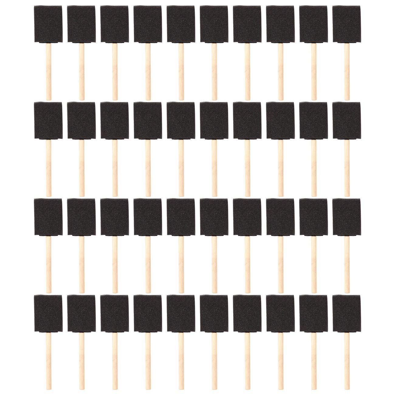 2 inch Foam Sponge Wood Handle Paint Brush Set (Value Pack of 40) - Lightweight, durable and great for Acrylics, Stains, Varni