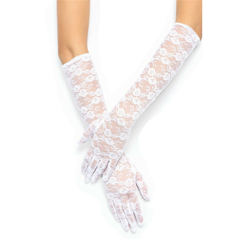 Trendy Women Clothes Tulle Arm Warmers Lace Semi Sheer Bridal Wedding Dress Party Gloves Touchscreen One Pairs