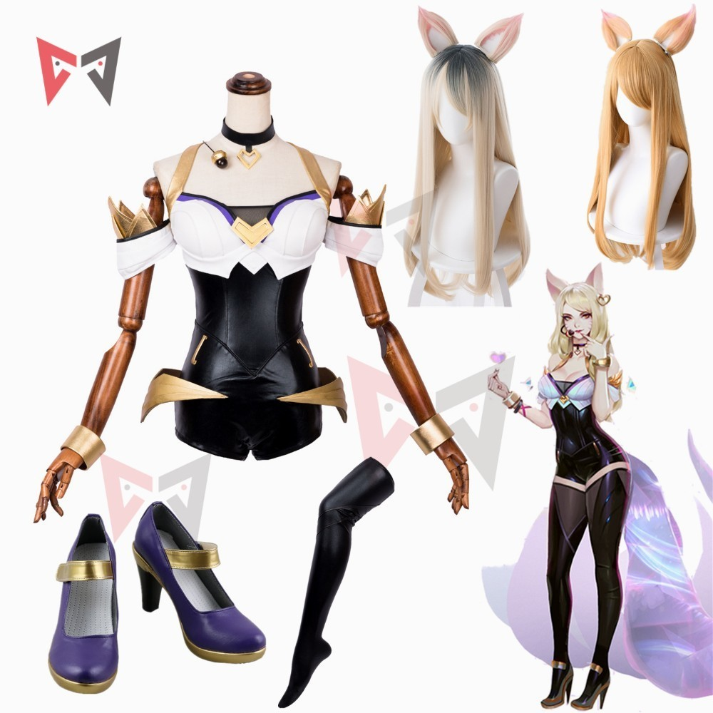 LOL Ahri Cosplay Costume Game KDA Group Women Clothing Halloween Sex Leather Jumpsuit Stockings Wig Ears Shoes Custom Made Size