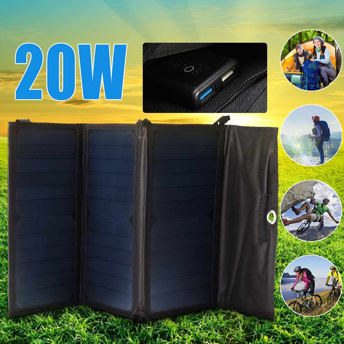 Foldable 20W Solar Charger Folding USB 5v Battery Charger Portable Waterproof Solar Panel External Battery For Outdoor CampingFoldable 20W Solar Charger Folding USB 5v Battery Charger Portable Waterproof Solar Panel External Battery For Outdoor Camping
