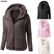 2018 Laipelar New Fashion Women Hooded Sweater Coat Winter Warm Wool Zipper Cotton Outwear