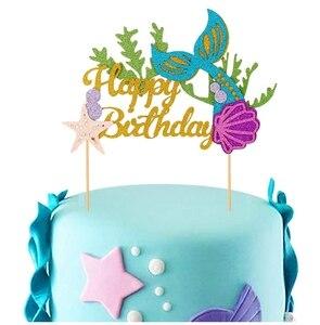 Сделай Сам, блестящий Топпер для торта «С Днем Рождения», хвостовая раковина русалки, тема «Морская звезда», украшение для дня рождения, укр...