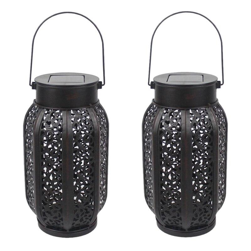 2 Pack Hanging Solar Flame Lights Outdoor Waterproof Solar Lantern Retro Lantern For Outdoor Decorative Lights Decoration Equi