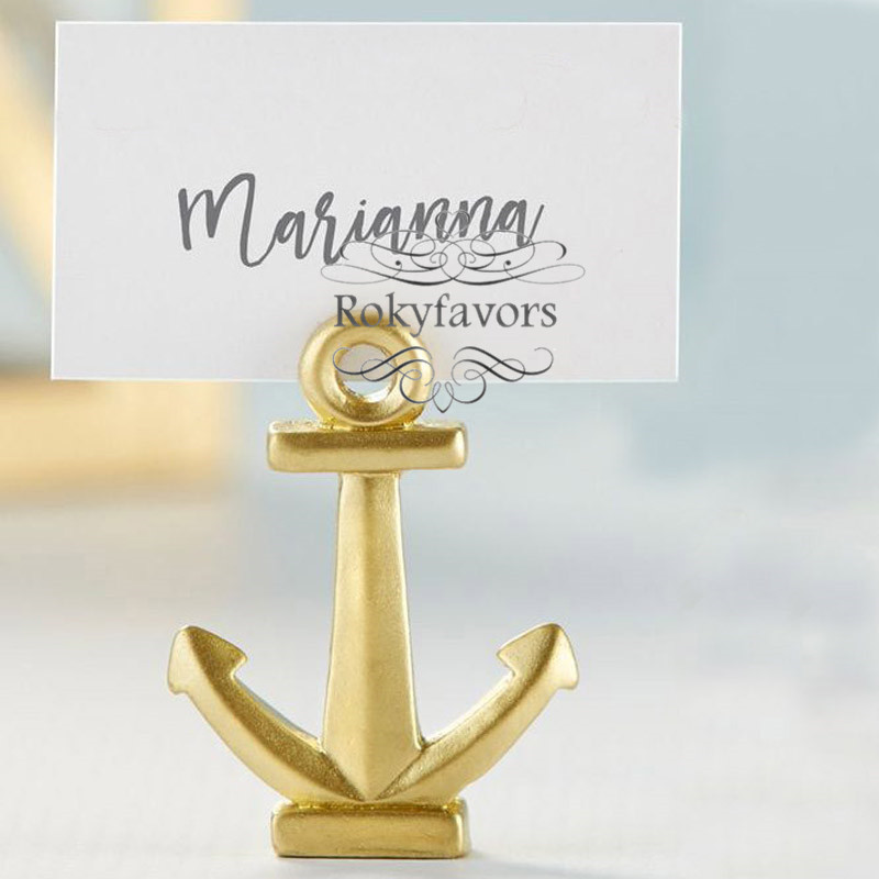 Wedding Place Card Holder Ideas: 50PCS Nautical Gold Anchor Place Card Holder Wedding
