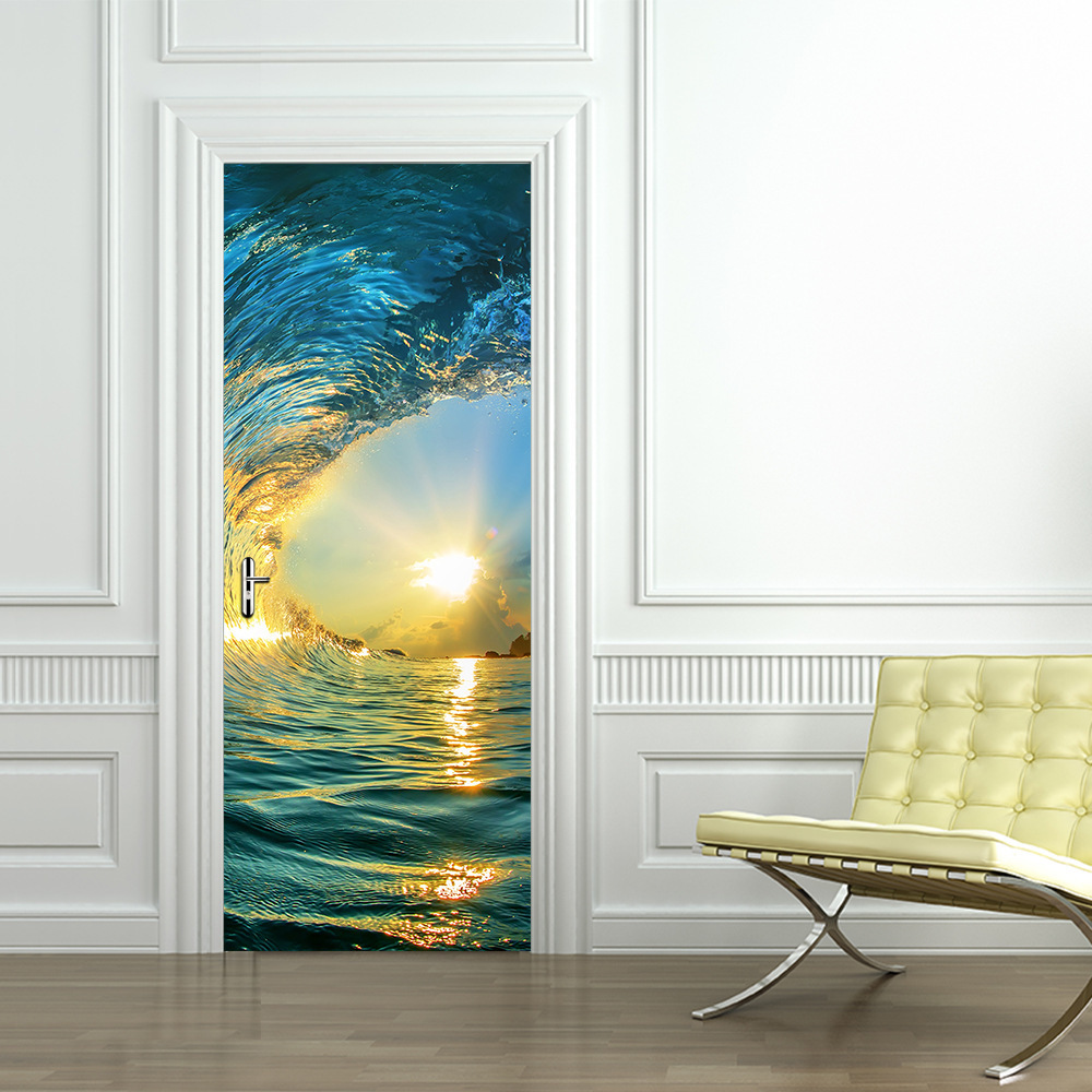 Bois mer coucher de soleil porte rénové salon porte papier peint auto-adhésif décoration maison porte autocollant Mural Pvc pâte étanche