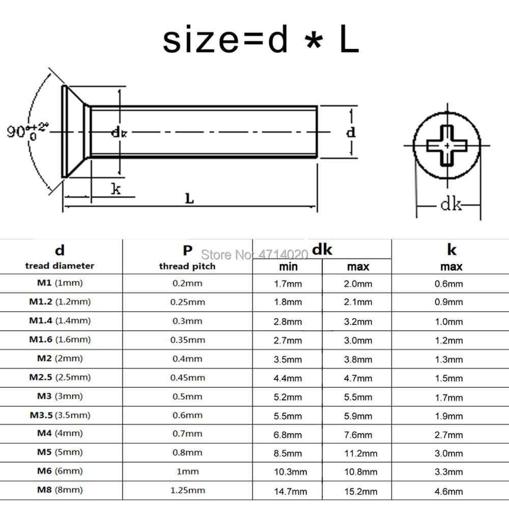 10/50 M2 M2.5 M3 M3.5 M4 M5 M6 M8 A2-70 304 נירוסטה GB819 צלב פיליפס שטוח Countersunk ראש בורג בורג אורך 3-100mm