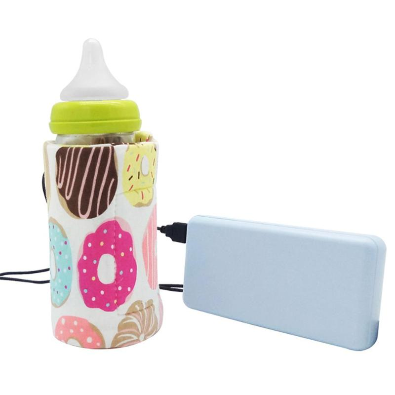 Baby Bottle USB Warmer Heater Insulated Bag Travel Cup Milk Thermostat Portable