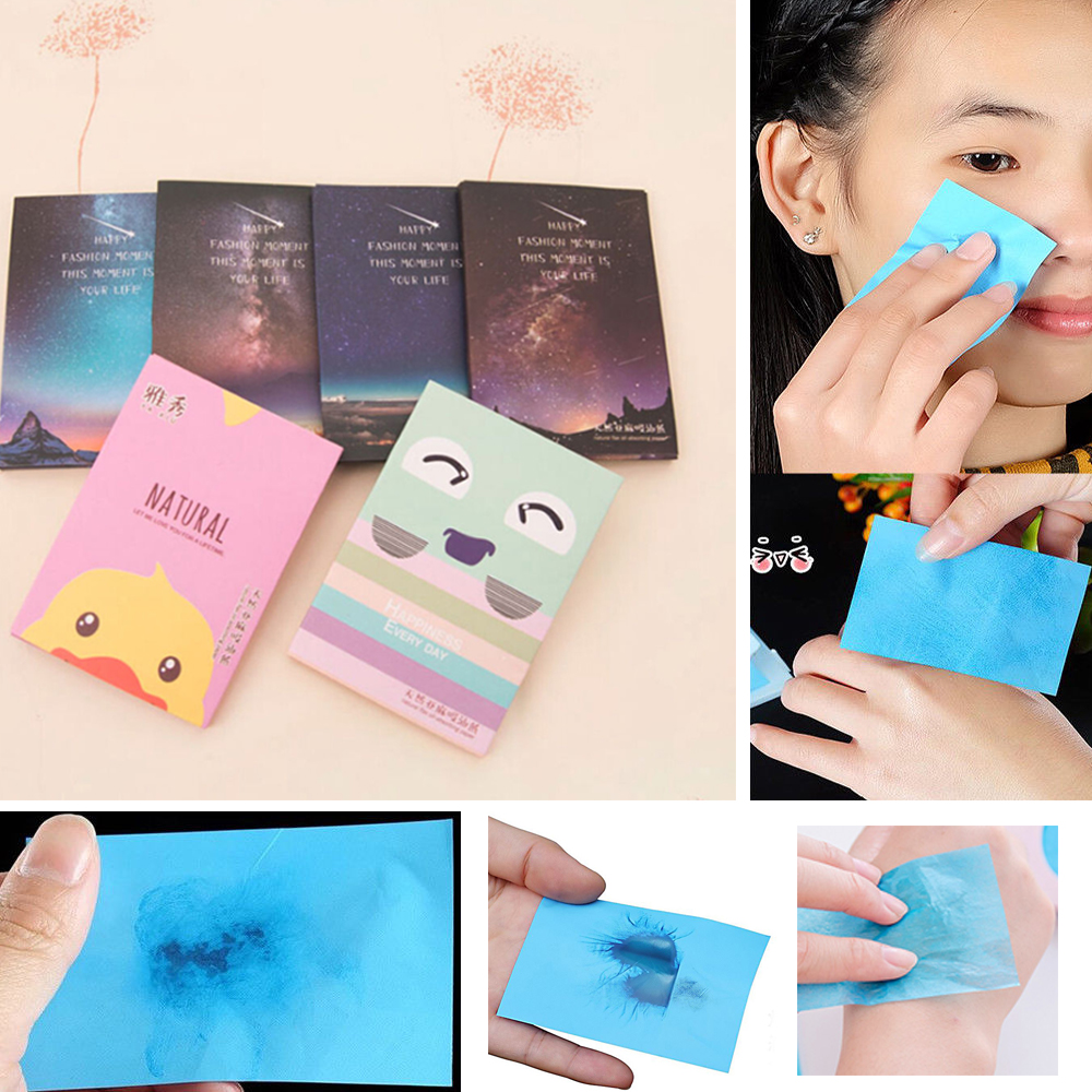 Korea Facial Face Clean Paper Makeup Cleansing Oil Absorbing Face Paper Korea cute cartoon Absorb Blotting Facial Cleanser Face image