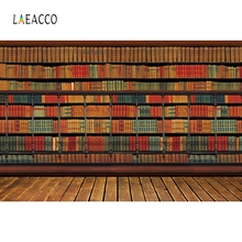 Laeacco Old Wooden Library Bookshlf Books Backdrop Photography Backgrounds Customized Photographic For Photo Studio