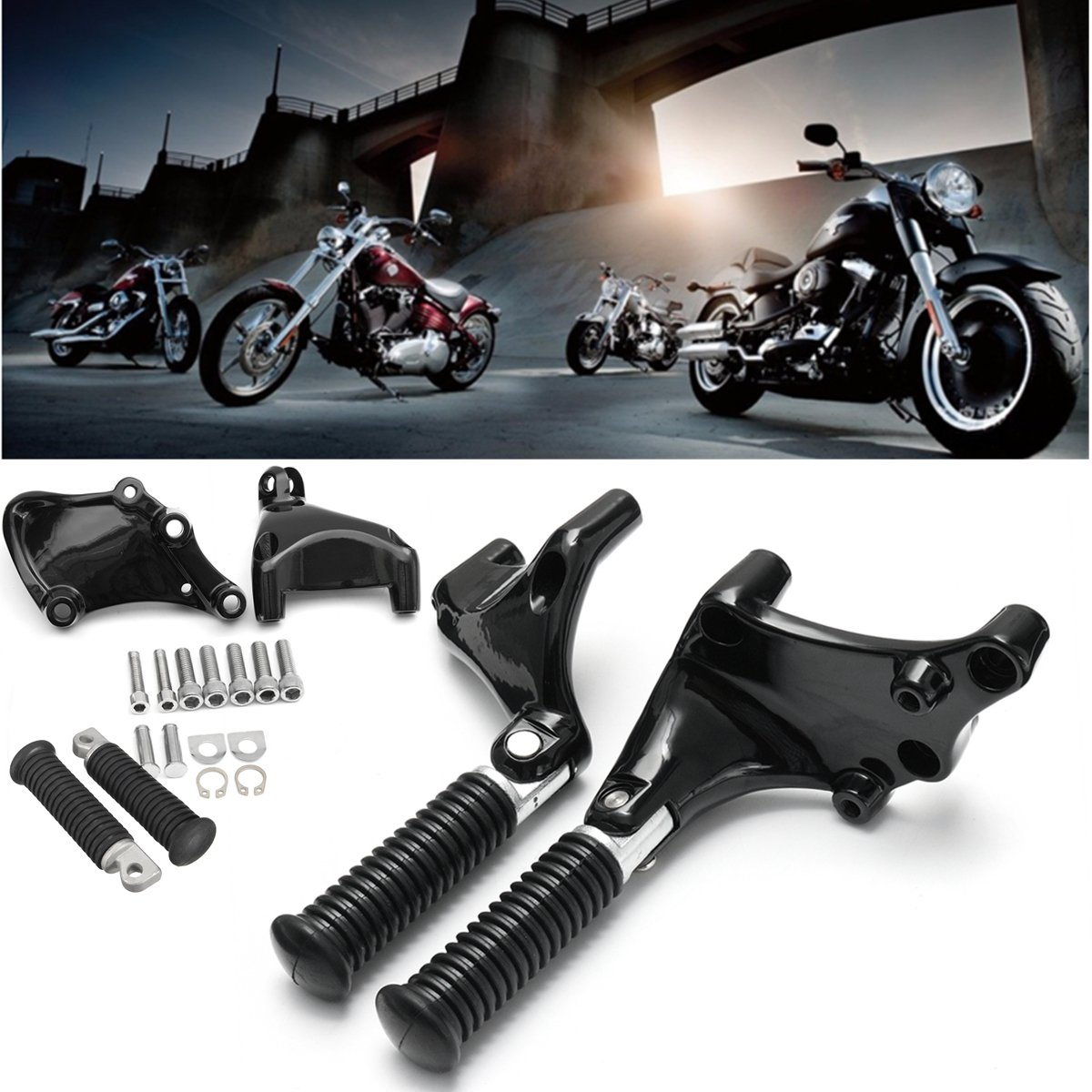 New Pair Black Rear Passenger Foot Pedal Mount Bracket + Foot Pegs Footpegs For Davidson Sportster 883 2014 2015 2016