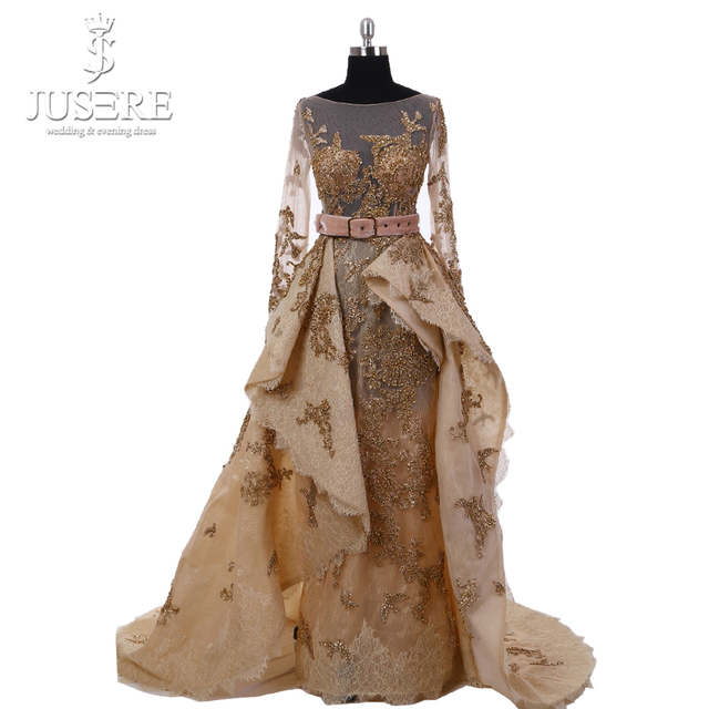 2018 Jusere High Couture A Line Luxury Gold Beaded Appliqued Luxury Long Sleeve V Back Evening Dresses Prom Gown W50256